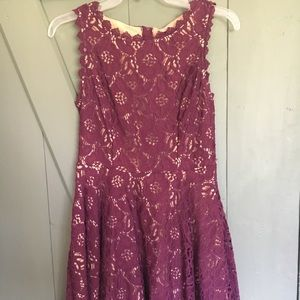 City Studio maroon lace dress